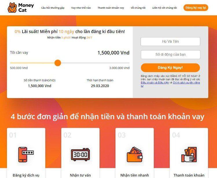 Vay tiền online nhanh tại Money Cat