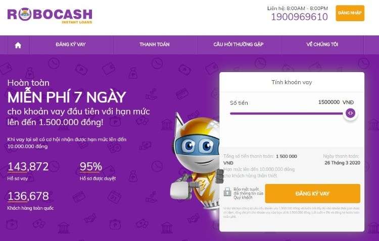 Vay tiền online nhanh tại Robocash