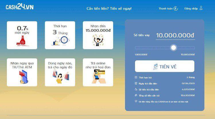 Vay tiền online nhanh tại Cash24.vn