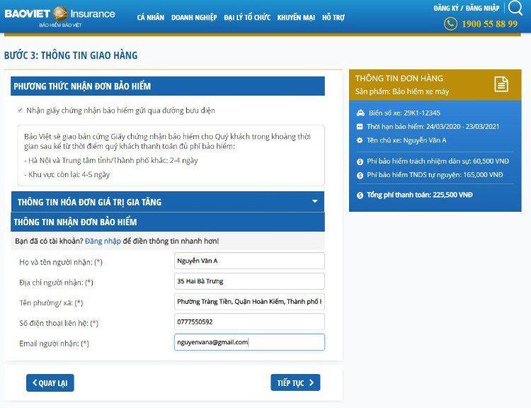 Điền thông tin nhận giấy tờ bảo hiểm