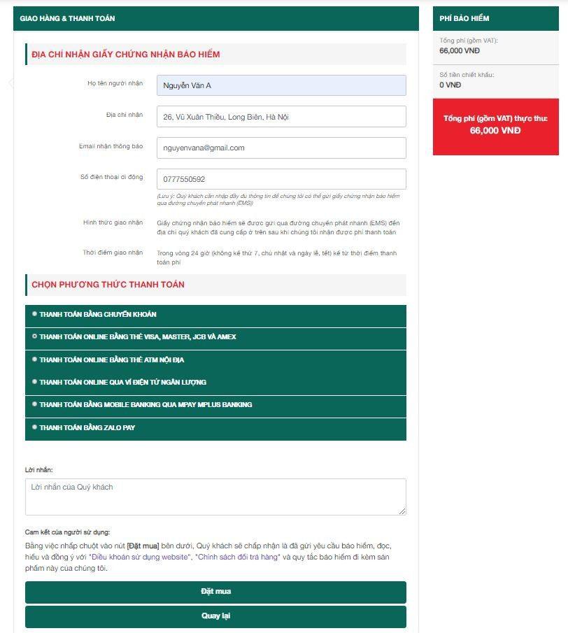 Điền thông tin nhận hàng và thanh toán