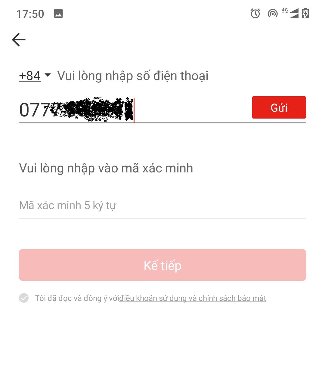 Nhập số điện thoại và bấm gửi để đợi mã xác nhận