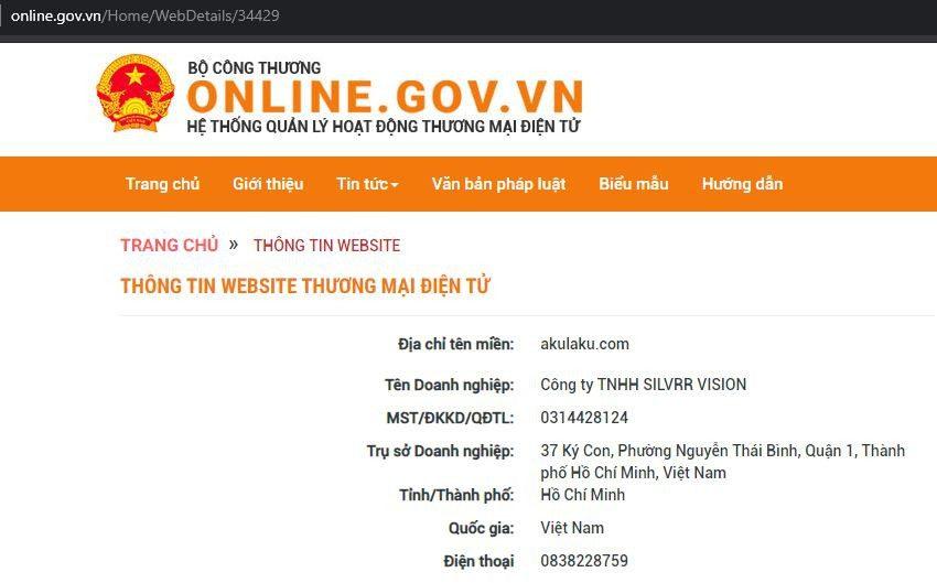 Thông tin trên website chính phủ về Akulaku