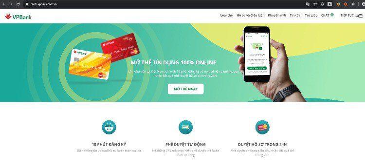 Truy cập website để đăng ký mở thẻ tín dụng