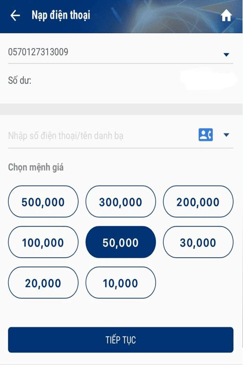 Nạp thẻ điện thoại dễ dàng, nhanh chóng với App MB Bank