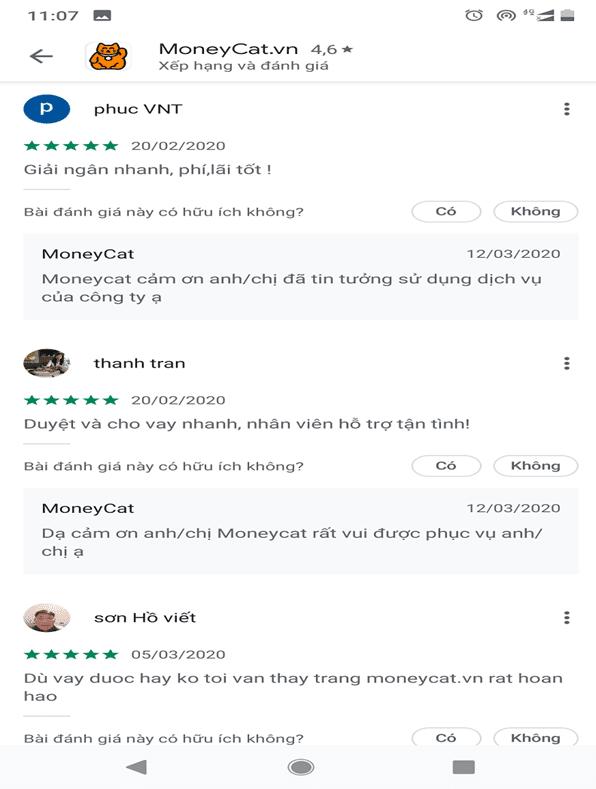 Phản hồi của người dùng về Money Cat