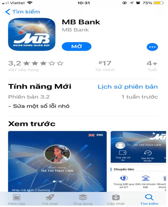 Tải MB Bank App ngay trên điện thoại