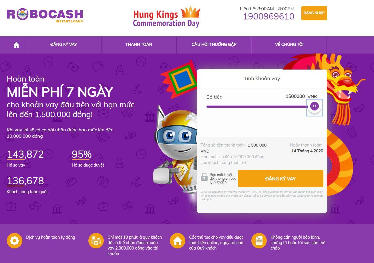 Robocash miễn lãi 7 ngày cho hạn mức lần đầu lên tới 1,500,000 VND