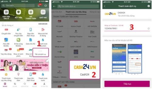Thanh toán khoản vay Cash24 qua ví điện tử