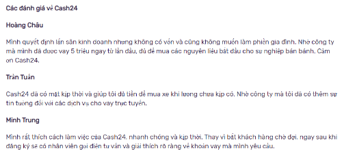 Phản hồi của người dùng khi vay tiền Cash24