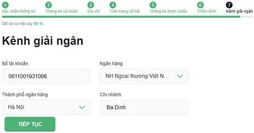 Điền tài khoản ngân hàng nhận giải ngân