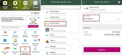 Thanh toán khoản vay Dr Đồng qua ví điện tử MoMo