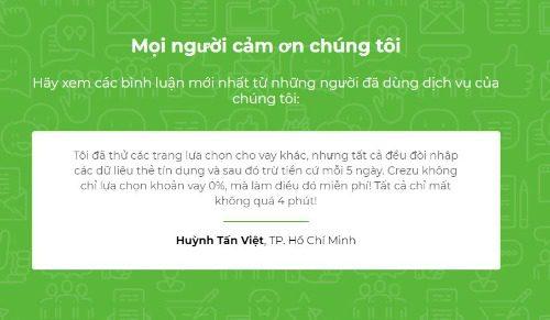 Đánh giá tích cực từ một khách hàng đã dùng Crezu.vn