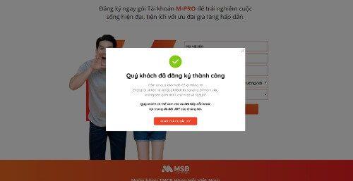 Mở tài khoản MSB online 100% thành công