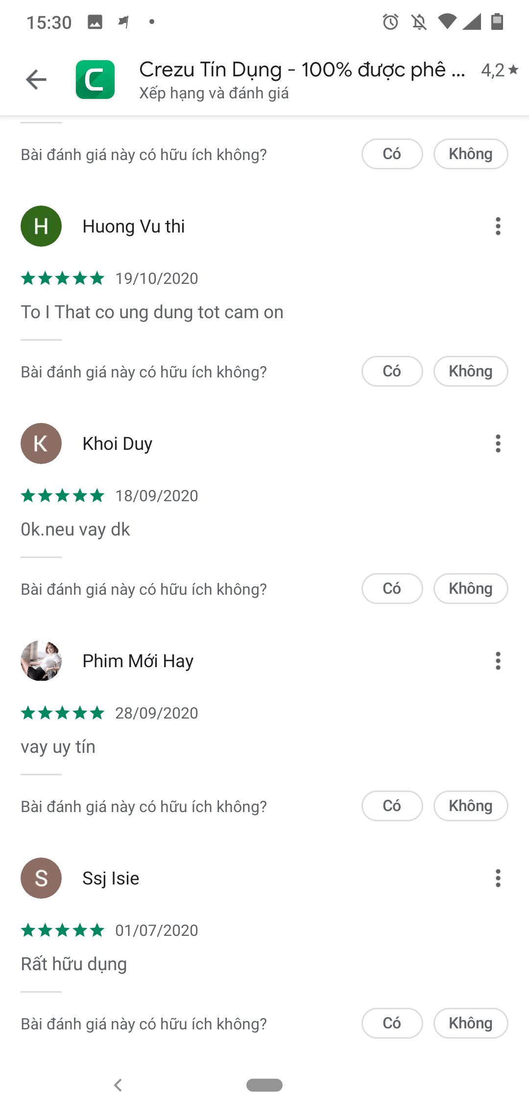 Một số đánh giá của người dùng Crezu