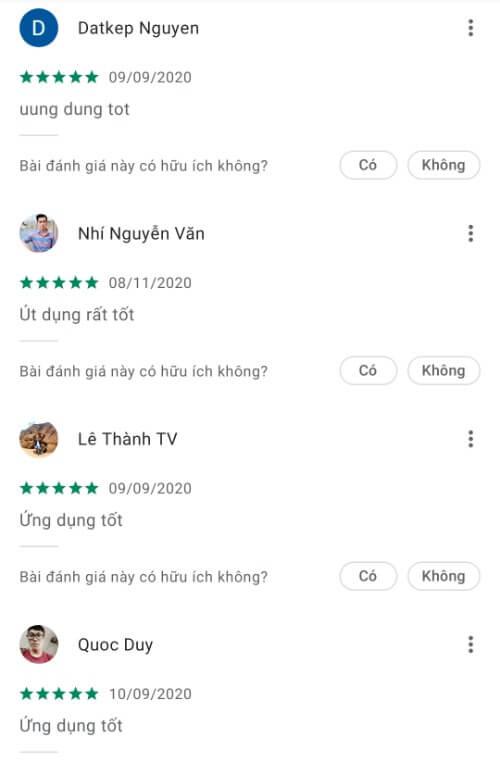Đánh giá của khách hàng về ứng dụng