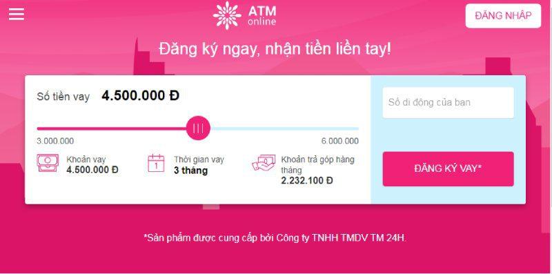 Vay tiền 5 triệu chỉ cần cmnd tại ATM Online