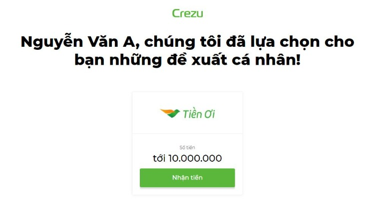 Crezu đề xuất khoản vay trả góp 10 triệu lãi suất 0%