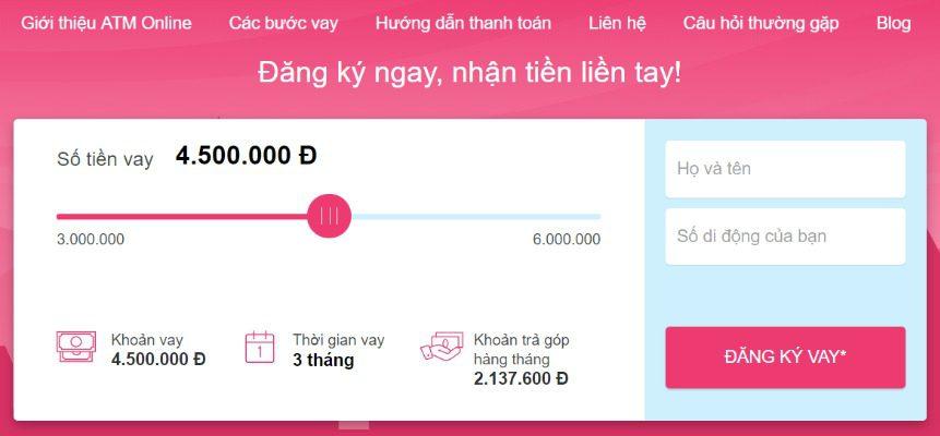 Vay tiền cực nhanh tại ATM Online