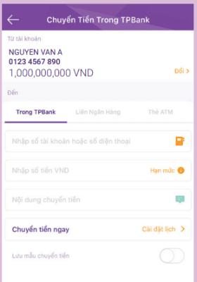 Chuyển tiền miễn phí qua app TPBank