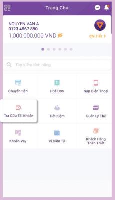 Tra cứu tài khoản dễ dàng trên app TPBank