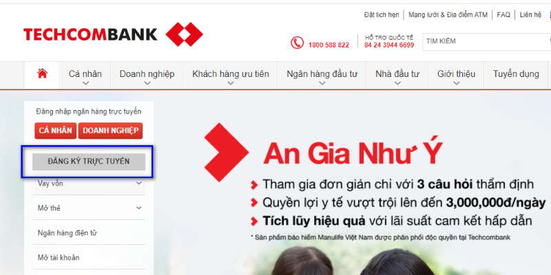 Đăng ký trực tuyến ngay tại trang chủ Techcombank