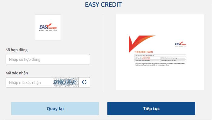 Tra cứu hợp đồng Easy Credit qua Payoo